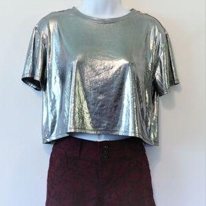 NWOT Metallic Silver Loose Fit Crop Top